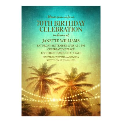 tropical beach themed 70th birthday party hawaiian invitation in