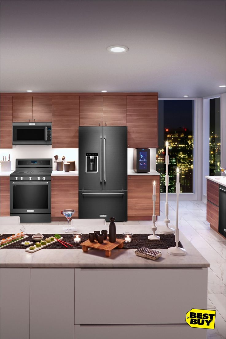 KitchenAid Black Stainless at Best Buy: Don't just like your kitchen, adore it. Start your remodel with the unmatched craftsmanship of KitchenAid. The iconic designs range from platinum interiors and LED lighting, to the usefulness of self-close doors and drawers. The KitchenAid line of refrigerators, dishwashers, microwaves and ranges help craft the perfect meal at home. Come in and talk to a Best Buy Blue Shirt about your remodel.