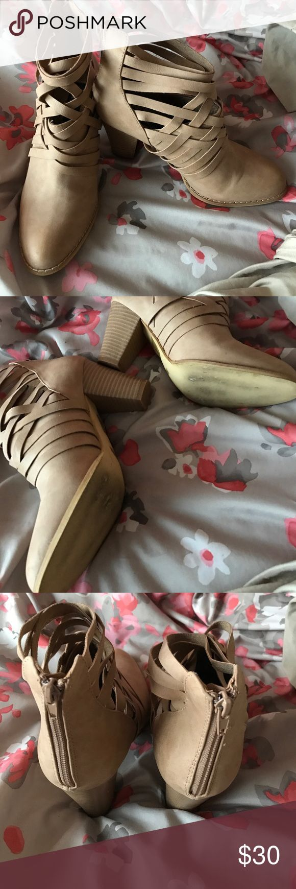 Tan Fashion Booties Gently worn! Minimal scuffing on the bottom, otherwise in excellent condition! Red Dress Boutique Shoes Ankle Boots & Booties