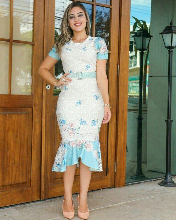 fda3f65c9e Vestido Tubinho Peplum Sereia em Piquet - Moda Evangélica - Flor de Amêndoa