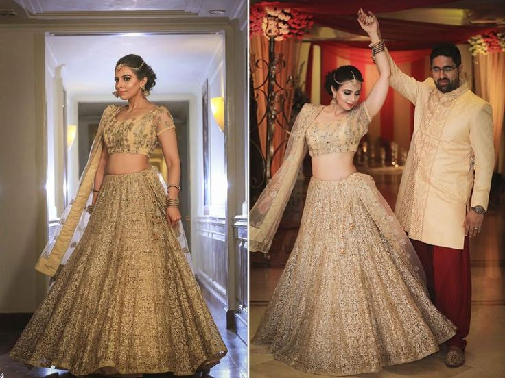 A beige lehenga with complete gold embroidery and a matching choli by Vikram Phadnis for Bride Aanchal of WeddingSutra. Photos Courtesy- Happyframes Photography & Films