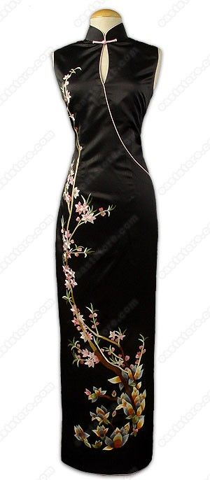 Elegant Yulan and Peachblossom Embroidered Silk Cheongsam : EastStore.com