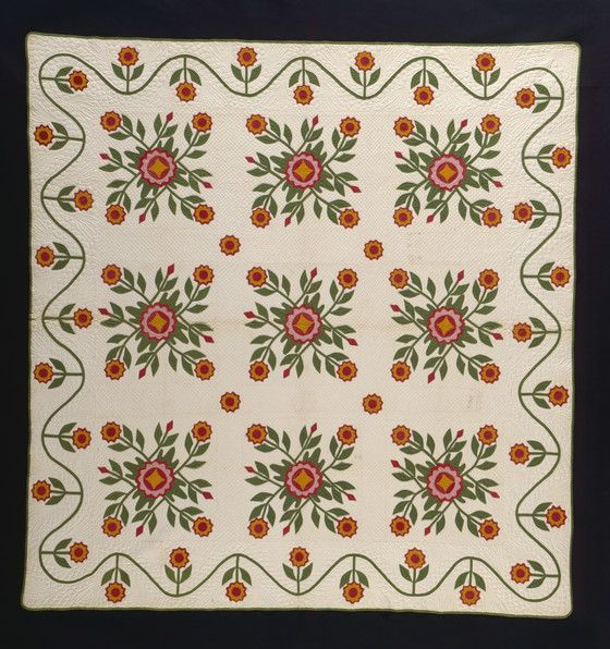 Quilt, 'Whig Rose Variation with Running Vine Border' | LACMA Collections