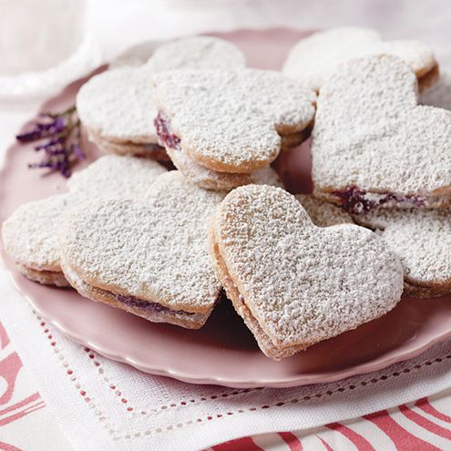 -shaped almond cookies are layered with a lightly-sweetened raspberry ...