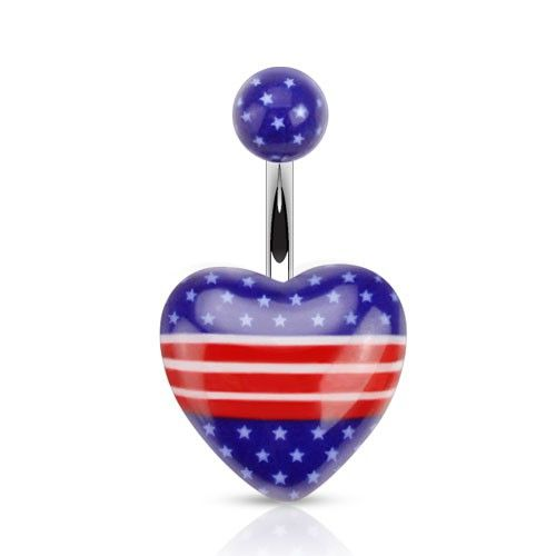Navlepiercing med Stars and Stripes 23 kr