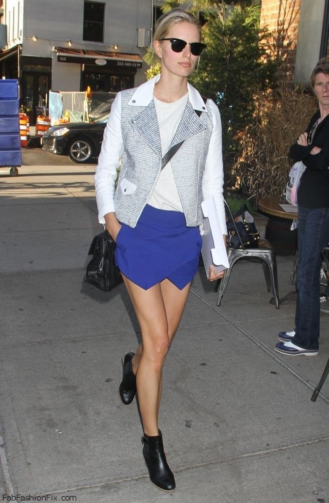 Karolina Kurkova wearing Zara wrap shorts  Be featured in Model Citizen App, Magazine and Blog.  www.modelcitizenapp.com