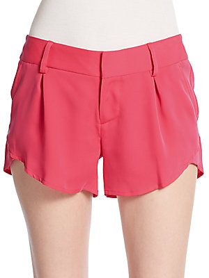 Alice + Olivia Butterfly Pleated Shorts - Hot Pink - Size