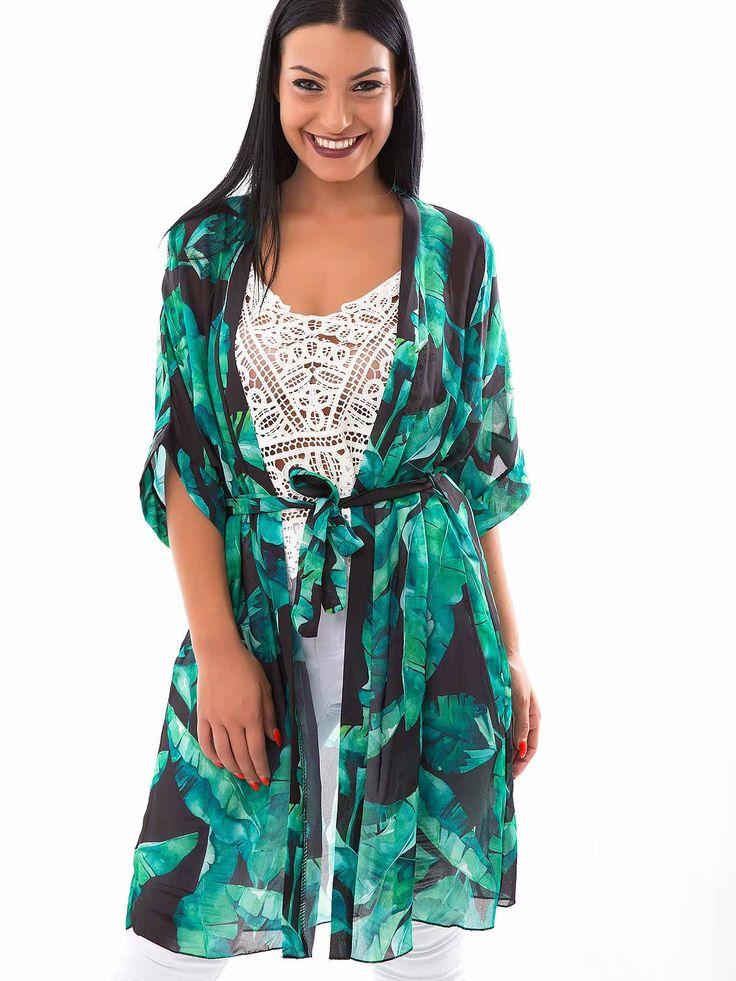 Kimono comprido tecido folhas com cinto