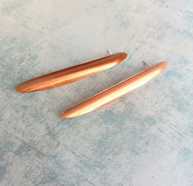 Copper and Silver stud earrings. Contemporary minimalist jewellery