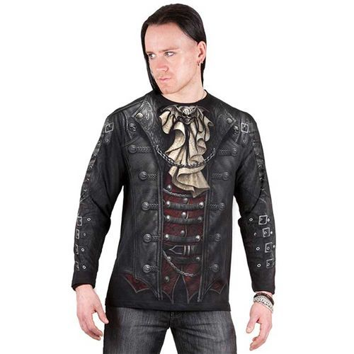 Goth Wrap, gothic fantasy metal heren shirt met lange mouwen en all over jacket print zwart - XXL - Spiral