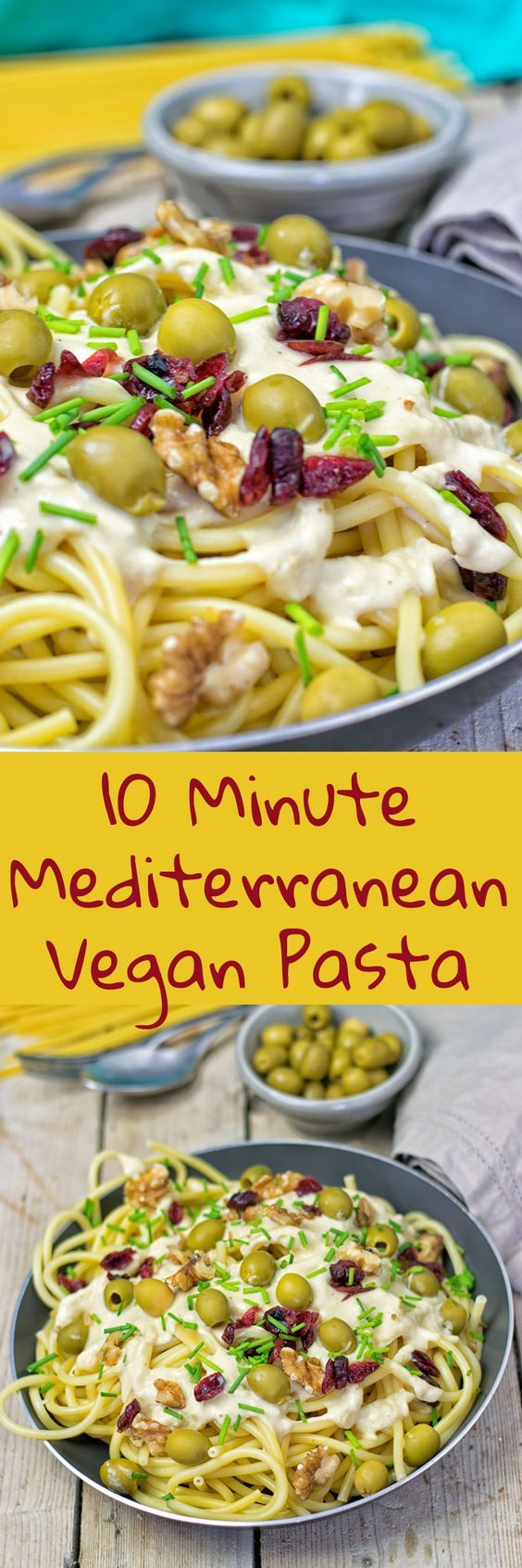 awesome 10 Minute Mediterranean Vegan Pasta