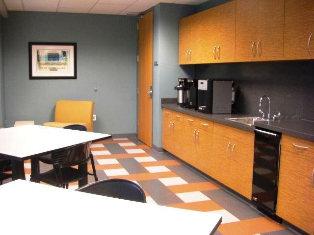 Break room cabinets commercial accent paint for Office lunch room design ideas