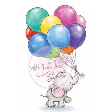 Tampon Dessin Wild Rose Studio. Eléphant Ballon fête anniversaire
