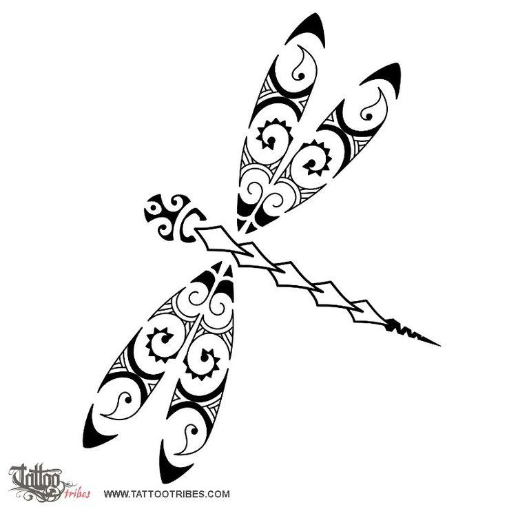 Tatuaggio di Libellula stile Maori, Serie Maori: ARIA tattoo - custom tattoo designs on TattooTribes.com