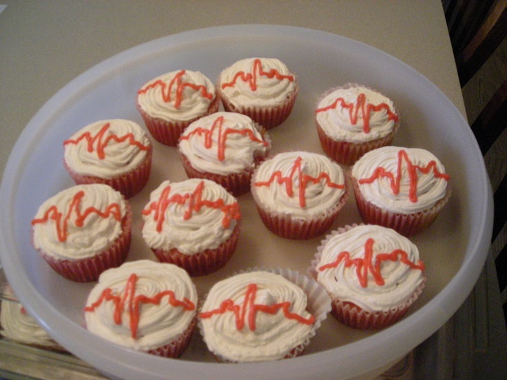Nursing Cupcakes!  Jello Poke Cupcakes with Cool Whip and a heart rate!