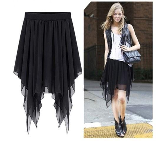 Tail Chiffon Black Skirts