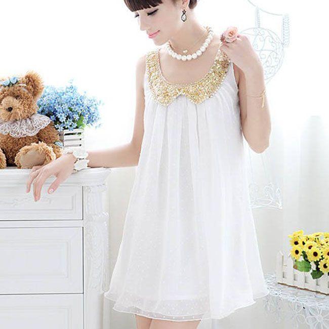 Hot Summer Maternity Mini Dresses pleated chiffon white casual women dress with O-Neck