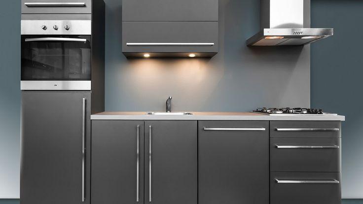 Keukenloods.nl - Compacte, donkergrijze keuken met ETNA apparatuur. Voor een leuke prijs: €2995,-. Deze keuken is te bezichtigen in onze vestiging Zaandam XXL
