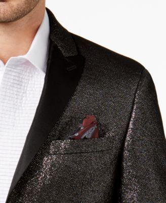 Tallia Men's Big & Tall Slim-Fit Black Sparkle Peak-Lapel Dinner Jacket - Black 50XL
