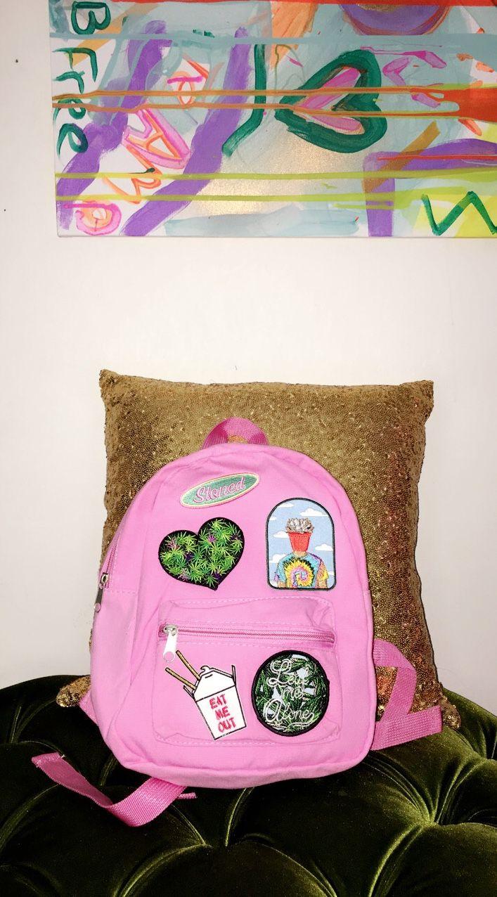 Cute backpack pink, patches, weed stoner purse handbag, wallets, custom artbabela.com