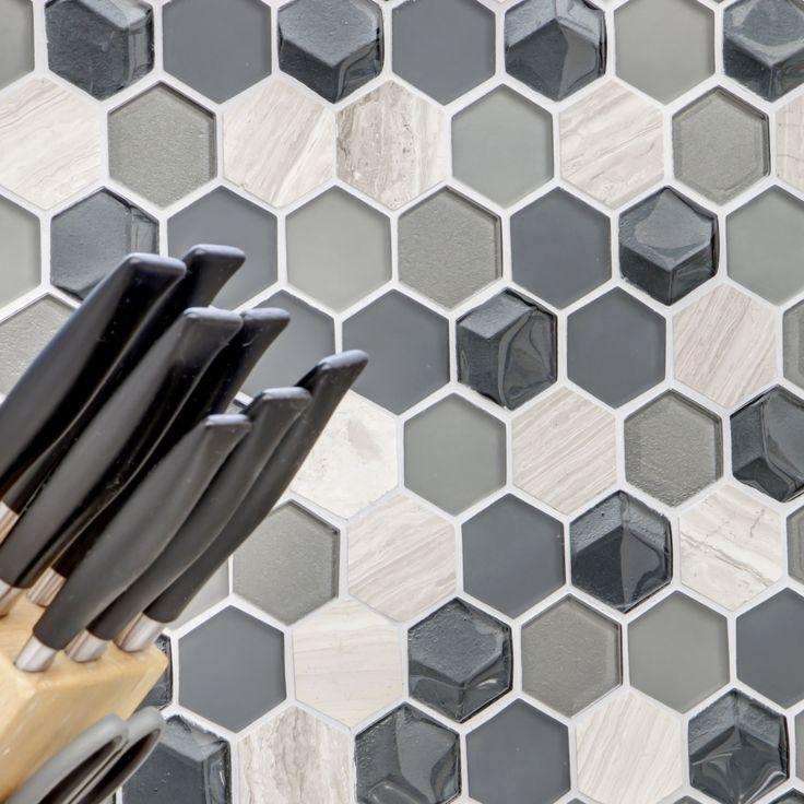 Mosaikfliesen Glas Naturstein Hexagon 3D
