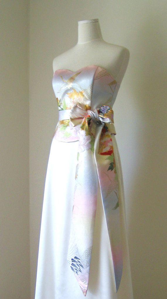 Wedding Dress with vintage wedding KIMONO.