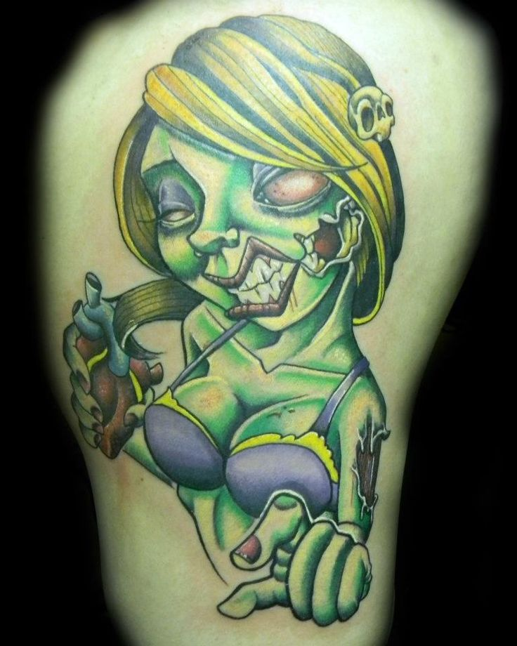 Pin Up Zombie Girl Tattoo - Levi Hilton http://pinupgirlstattoos.com ...