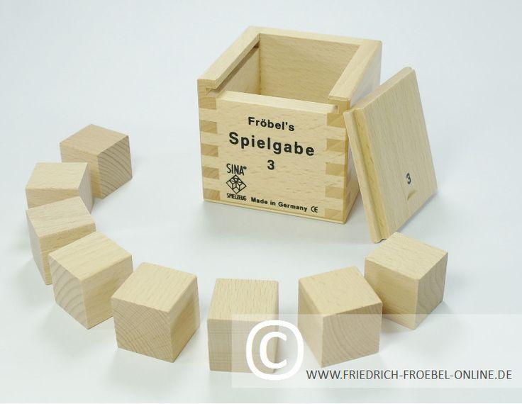 Holzbausteine der Spielgabe 3 -> 8 Würfel mit dem Grundmaß ...