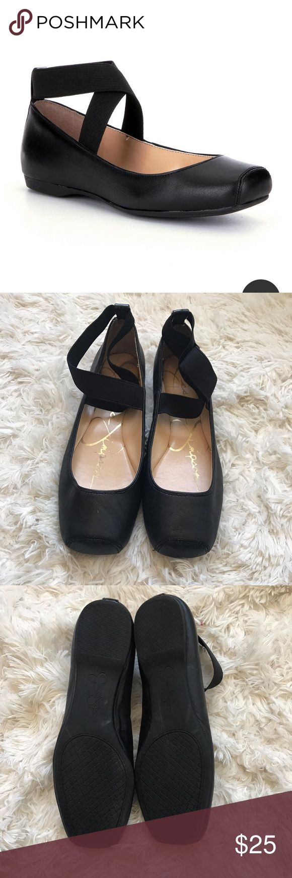 Jessica Simpson• squared ballet flats•size 7 Squared toe ballet flats .  Leather upper . Criss cross elastic. Rubber sole. Ok good condition Jessica Simpson Shoes Flats & Loafers