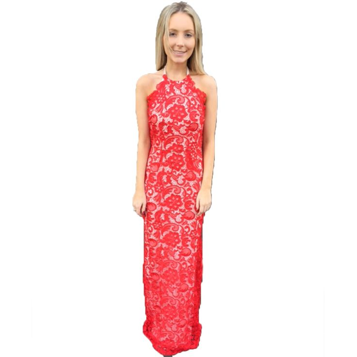 A romantic vision in red is this red and nude evening dress. Endearingly polished and pretty, this beautiful style of formal dresses deserves a sweet chic look with a swept up do and a light pink lip gloss. Dress Style Points:Crafted from a quality lace In the on Mexican Red A scalloped halter neck line with an easy tie up back The zip is placed at the centre back of the dress for ease to step into Jersey lining completes the this gown in a soft stretch for a smooth feel on your skin A…