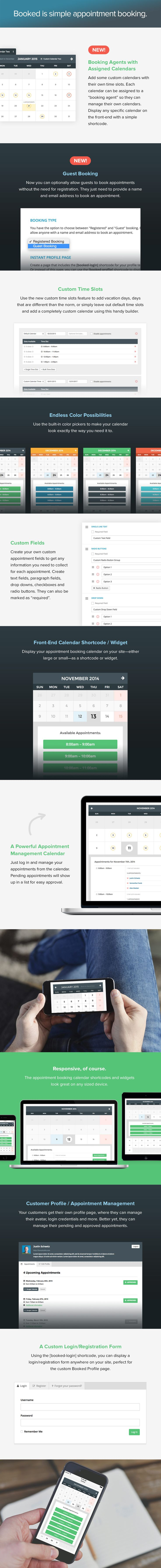 Booked - Appointment booking for easy-to-use appointment booking plugin for WordPress. Front-end and admin are both fully responsive and Fully translatable. User can manage their own booking and account information.
