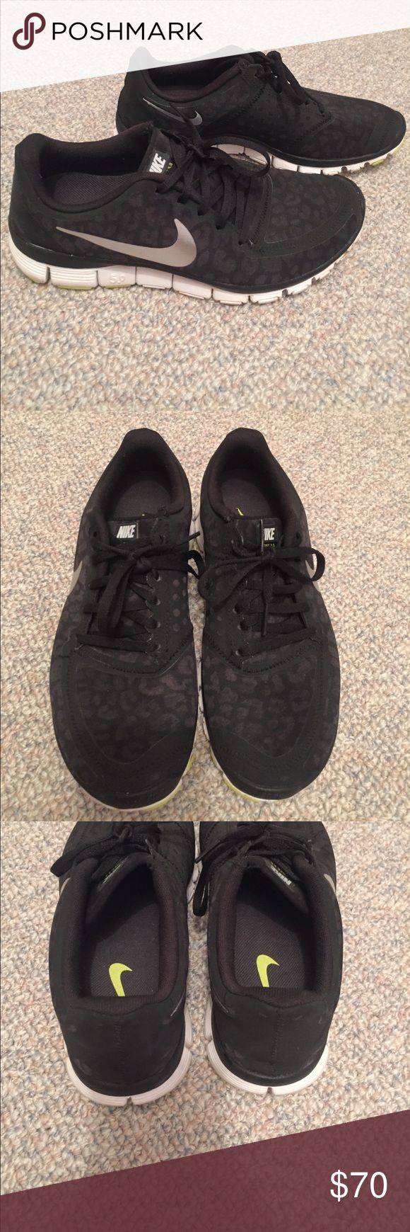Nike free 5.0 cheetah shoes Black cheetah/leopard print Nike run 5.0 athletic shoes. These are limited edition and sold out super quick. Very lightly worn - only sign of wear is a little dirt on the bottoms which is shown in pictures. Ladies size 8 Nike Shoes Athletic Shoes