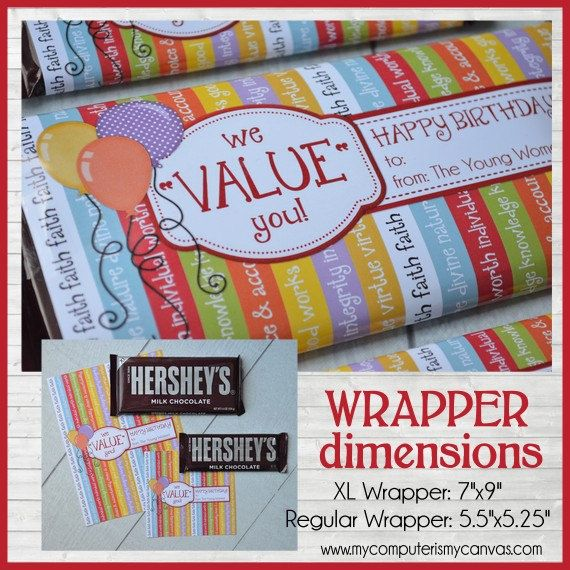YW BIRTHDAY Chocolate Bar Wrappers LDS by mycomputerismycanvas