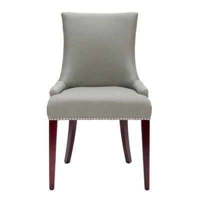 Safavieh Mercer Collection Eva Linen Dining Chair With Trim Nail Head Grey By