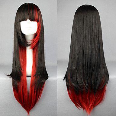 peruca lolita inspirado pelo punk cor preta e vermelha misturada 70 centímetros - USD $ 26.99