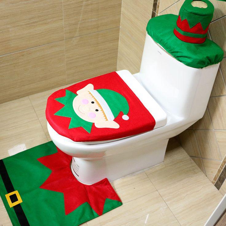 Toilettes décoration elf salle de bains ensembles De Noël Décorations Santa Siège De Toilette Couverture Tapis Salle De Bains Claus Joyeux Noël Ornement(China (Mainland))