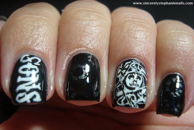 sons of anarchy nail art: Sons Of Anarchy Nails Design, Nails Art, Soa Obsession, Sons Of Anarchy Parties, Holy Cows, Soa Nails, Beavers Tail, Thimbl, Nail Art