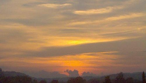 beauty, cloud, landscape, love, mountain, orange, romantic, sky, sun, sunset, yellow