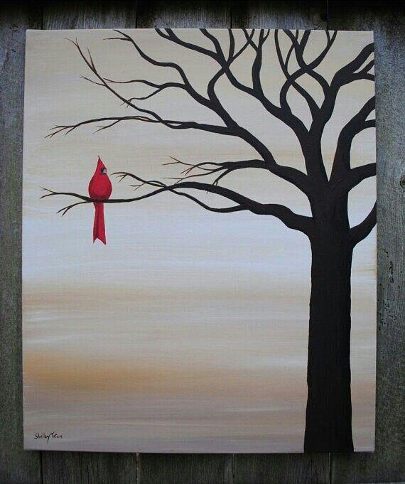 One lone cardinal sitting on tree silhouette. Beginner painting idea.