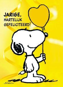 Snoopy kaart - snoopy-zegt-hartelijk-gefeliciteerd