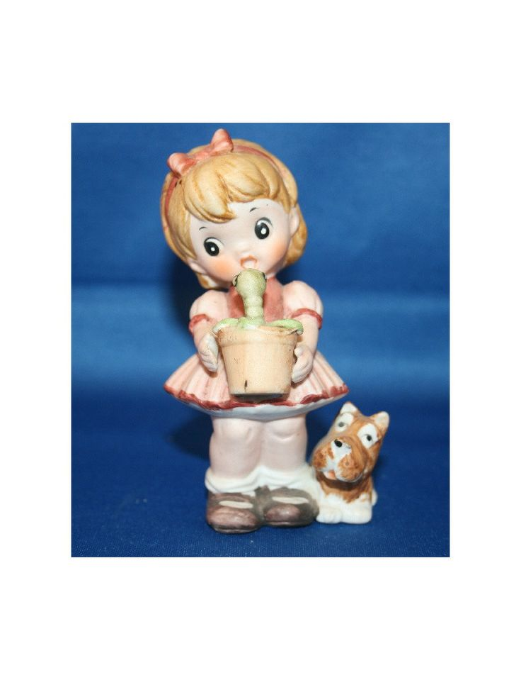 Vintage Ceramic Girl & Scotty Dog Figurine Holding a Flower Pot with a Worm Figure Collectible Precious Moments Style Knick Knack by KattsCurioCabinet on Etsy