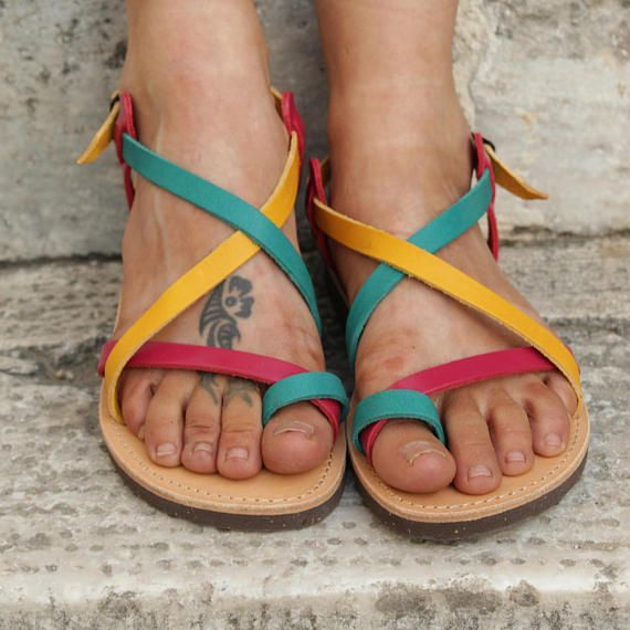 Multicolor Strappy Sandals, Greek Leather Sandals, Boho Chic sandals