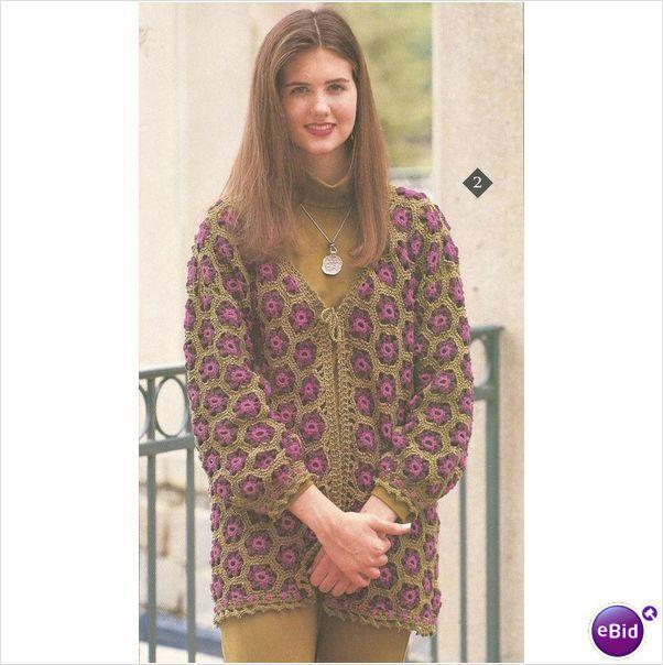 Crochet Sweater Pattern Flower Motif Cardigan on eBid ...
