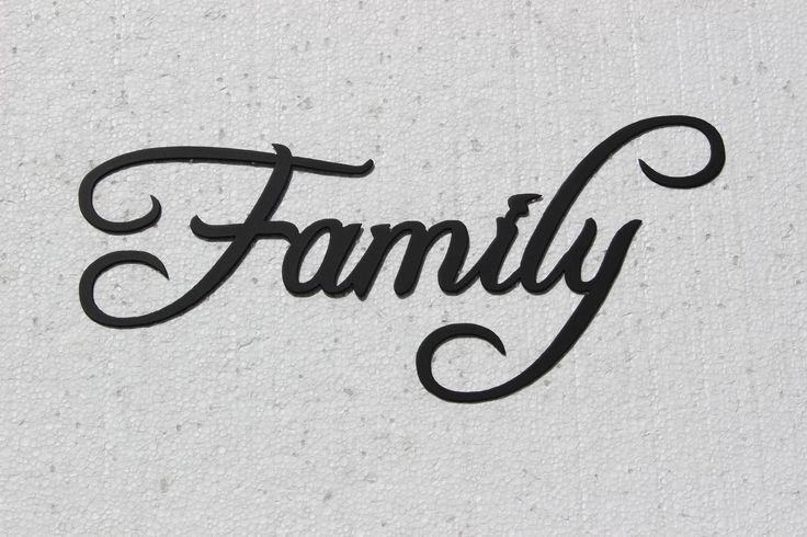 Family word metal wall art fancy script font fonts