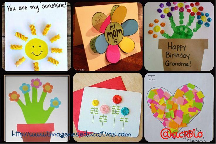 Regalo dia de la madre tarjetas collage 2 escolares - Regalos para mama manualidades ...