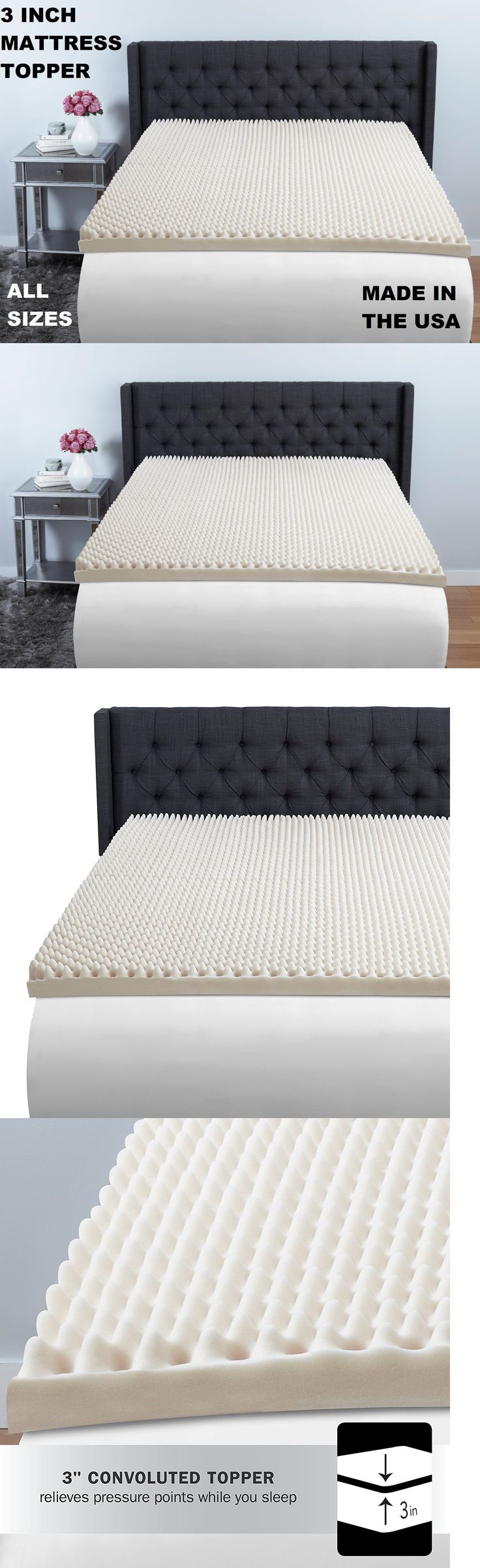 Mattress Pads and Feather Beds 175751: 3 Inch Thick Foam Egg Crate Mattress  Topper Bed