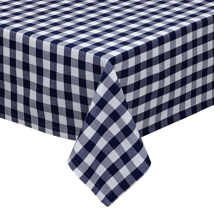 Nautical And White Checkers Indoor/Outdoor Tablecloth (Nautical And White  Checkers), Blue