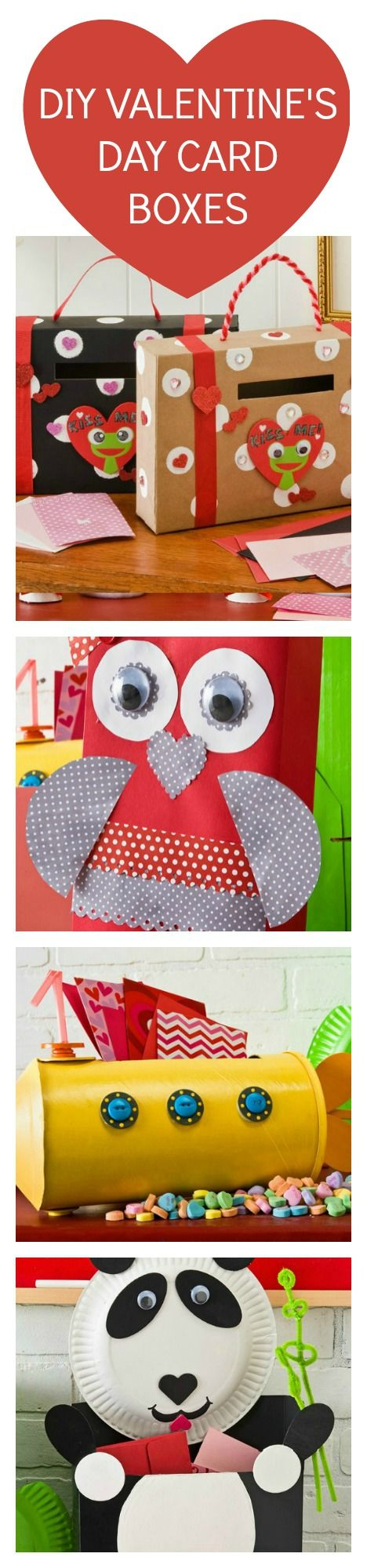 The cutest upcycled DIY Valentine's Day Card Box and treat holder Ideas for boys and girls! Use cereal boxes, oatmeal containers or paper plates for these budget DIY ideas #plaidcrafts