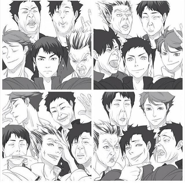Bokuto Kuroo Akaashi oikawa iwaizumi   i love how whoever holds the phone looking good af but the rest just spoils it. And you have oikawa looking fab in all 4.
