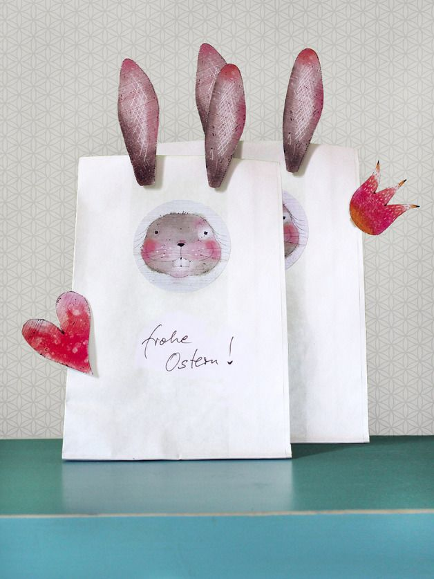 Geschenkverpackung für kleine Ostergeschenke: Set aus zwei Geschenktüten mit Hasenohren, eine tolle Idee für Ostern // gift wrapping for Easter gifts: gift bag with bunny ears made by lina-art via DaWanda.com